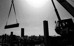 Lifting in B&W (Roy Cicero) Tags: march crane lifting 2016 precast