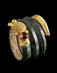 Spiral bronze ring with open endings decorated with gold wire and granules and a garnet. Macedonia, 4th century B.C. (mike catalonian) Tags: bronze ring macedonia ancientgreece ivcenturybc