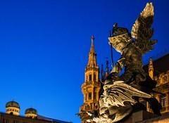 the Dragonslayer (werner boehm *) Tags: munich mnchen townhall marienplatz mariensule frauentrme wernerboehm heldenputten