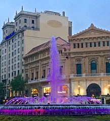 """Purple Rain"", Barcelona., colored lights, fountains, Prince (David McSpadden) Tags: barcelona rain purple prince coloredlights fountains"