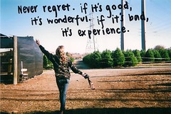 never regret. (ahhhlicia) Tags: sky film girl words katie text powerlines dirt christmastrees neverregretifitsgooditswonderfulifitsbaditsexperience ahhhlicia