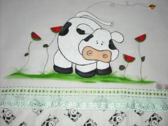 Vaquinha entre melancias (Pintura em tecido. Panos de prato.) Tags: vacas galinhas vaquinhas pinturacountry panosdeprato espantalhos panodeprato