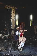 (yyellowbird) Tags: house selfportrait abandoned girl fire illinois lolita cari rockford burnedout schoolgirlattheendoftheworld