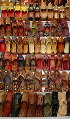 Spoilt for Choice (Clear Lady) Tags: india shop design shoes colours forsale display decorative patterns rows jaipur rajasthan