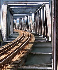 The Aristry of Steel (Mary Faith.) Tags: bridge summer lines train construction steel transport engineering rail railway historic nz strength girders tauranga matapihi mygearandme ringexcellence