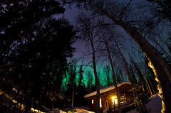 Cabin at night (musubk) Tags: sky alaska night cabin ak aurora northernlights auroraborealis