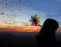 For the Birds (skyekz) Tags: blue sunset red summer portrait sky people orange cloud sun playing mountains color cute green bird girl beautiful beauty childhood bir