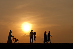 Stages of life (Sri Lankan Photos) Tags: life sunset people silhouette walking couple fort sri lanka srilanka generations galle pram lankan stagesoflife gallefort