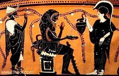 Hracls, Herms et Athna. (athenaceramique) Tags: lion vin vignes herms assis peau socle sandales aulos massue athna hracls phiale ailes ptase oinocho