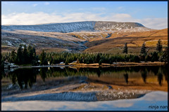 "ALL THINGS BRIGHT AND BEAUTIFUL - BEACONS RESERVOIR.  PUBLISHED IN ""POSTCARDS FROM WALES""  IN THE WESTERN MAIL, ON MARCH 10th 2012 (ninja nan1) Tags: uk trees snow mountains water wales reflections nikon colours shadows reservoir brecon beacons d300s nantddu"