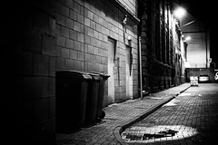 Incontinence (stephen cosh) Tags: life street leica city people blackandwhite bw sepia mono scotland town unitedkingdom candid streetphotography rangefinder dumpsters ayr bins reallife ayrshire humancondition blackandwhitephotos 50mmsummilux blackwhitephotos leicam9 stephencosh binseries