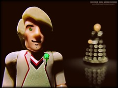 """""""Sorry, Must Dash!"""" (Rooners Toy Photography) Tags: toys corgi who doctorwho bbc scifi sciencefiction figures davros thedoctor peterdavison timelord characterbuilding 5thdoctor characteroptions rooners"""