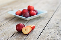 Luscious Juicy Red Plums......259/365 (Anna Hwatz Photography) Tags: stilllife food colour horizontal fruit flesh dof dish bokeh rustic plate 365 edible weatheredwood plums luscious cutinhalf servingplate redplum odc2
