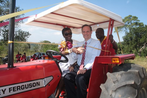 Michael and Dr.Penny lauching the SEEP tractor