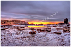 Saltwick Bay Sunset. (Stanegg) Tags: sunset sea sky seascape reflection water sunrise landscape bay rocks cliffs whitby hdr highdynamicrange northyorkshire canon500d saltwickbay saltwick whitbysunset saltwickbaysunset
