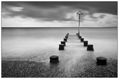 Beach Outlet [EXPLORE!] + Front Page (rhookway) Tags: uk bw beach coast south shingle haylingisland hampshire explore slowshutter frontpage outlet groin weldingglass explored