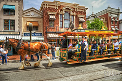 a day at disneyland #3 : horse-driven tram (Kris Kros) Tags: horse bravo disneyland trolley tram disney kris streetcar hdr kk kkg photomatix kros kriskros kkgallery