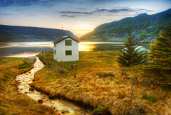 Farm Between Fjords (Stuck in Customs) Tags: world ocean travel sunset wild sky mountain lake cold tree nature water field june farmhouse digital fence island photography bay iceland blog high stream europe solitude alone quiet dynamic stuck natural farm hill growth photoblog software processing fjord imaging serene lonely homestead wilderness peninsula solitary range hdr tutorial trey sland travelblog customs northatlantic 2011 midatlanticridge ratcliff hdrtutorial stuckincustoms treyratcliff photographyblog stuckincustomscom nikond3x