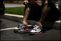 A quick shot. (Never Wear Them) Tags: red white 3 black basketball fire shoes you air 4 cement nike wear jordan what did today jumpman wdywt jordan3firered jordan4mars
