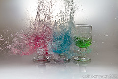 RGB Splash (Colin Cameron ~ Photography ~) Tags: blue red reflection green water glass smash rainbow colours shot bright flash drop boom chain drip microphone shooting bullet punch shattered sparks rgb liquid speedlight shards shatter explode smashing highspeed isleoflewis splinters soundtrigger exploding stornoway airrifle tamron2875f28 offcameraflash shattering strobist colincameron shootingtable audiotrigger canon7d phototrigger