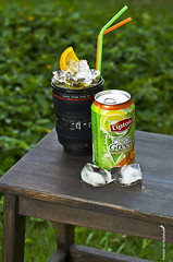 Lipton ice tea...[ Explored ] (Fahad Al-Robah) Tags: blue orange green ice cup garden lens tea iced products