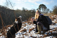 my woman and my dog (Shot 58 Degrees (The modern Day Hippy)) Tags: winter snow fern tree beauty hat pine jumping blonde snowball rucksack wellies defyinggravity eastkilbride bordercolly