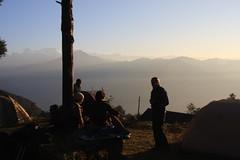 Morning veiws on a Multi sport treking Mountain biking rafting kayaking trip in Nepal