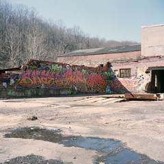 Bartgis Brothers Company Graffiti (Sam-Lehman) Tags: county camera city building mill abandoned 120 film analog vintage paper photography graffiti photo md focus fuji eli photos brothers maryland baltimore iso company photograph co manual asa stab bros 800 yashica later nsf catonsville ellicott hod fujicolor npz shaed bartgis samlehman
