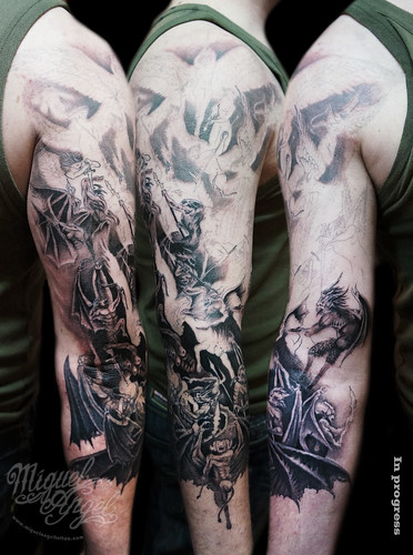 313a7eb734b66 Michael Archangel battle and clouds and holy rays custom tattoo · War of  Angels tattoo (Todd Lockwood®)