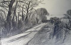 Road Buckland Marsh, near Bampton (Martin Beek) Tags: road art observation landscape artist drawing study charcoal buckland markmaking martinbeek landscapedrawing landscapedrawings martinbeekartwork artwork201013
