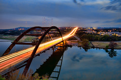Pennybacker Bridge at Dusk (Apogee Photography) Tags: longexposure sunset water austin landscape places townlake lighttrails pennybackerbridge