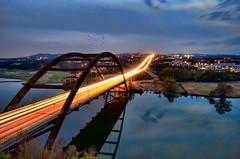 Pennybacker Bridge at Dusk (Apogee Photography) Tags: longexposure sunset water austin landscape places townlake lighttrails pennybackerbridge