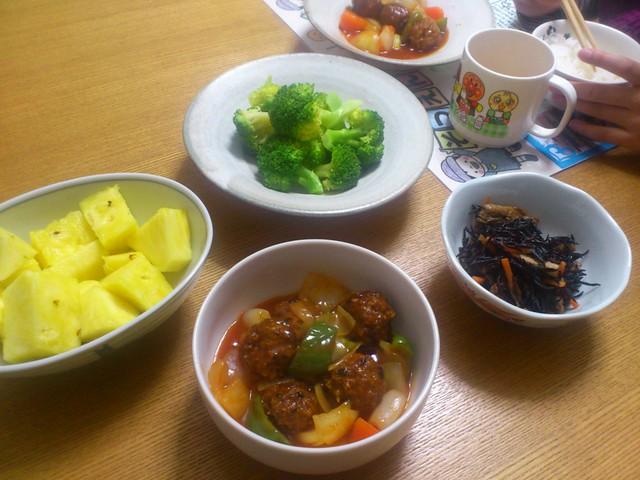 今日の夕げ:肉団子の甘酢あんの写真