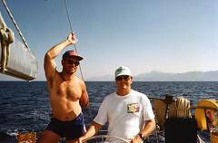 Dodecanese, Greece, Pete and Ian (Gillian Everett) Tags: sailing greece greekislands sunsail dodecanese southernaegean oceanis350 epsonv33scanner asiaukandeurope1994