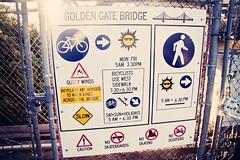Instructions to walk over the Golden Gate Bridge (Leighton Wallis) Tags: sanfrancisco california birthday ca usa warning fence walk unitedstatesofamerica rules goldengatebridge cycle instructions hazard 75thanniversary ggnpc11
