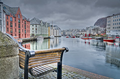 Happy bench Monday (The Nature Guy) Tags: seascape water norway clouds bench landscape boat norge other nikon waterfront harbour vehicles fjord fishingboats lenses lesund ndfilter 18200mmf3563dc norwegan mreandromsdal apotekertorget d7000