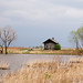 Goose Lake Prairie Cabin Late March with Incoming Storm