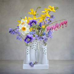 HAPPY EASTER (Jacky Parker Photography) Tags: pink flowers blue stilllife white nature yellow closeup bluebells garden easter spring flora display indoors forsythia bloom vase bouquet pansies daffodils posy dicentra forgetmenots floralessence