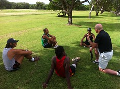 "Rob talking to the runners before the tryouts in Darwin • <a style=""font-size:0.8em;"" href=""https://www.flickr.com/photos/64883702@N04/7117263761/"" target=""_blank"">View on Flickr</a>"