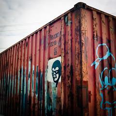 He still walks - Mordialloc Marina (Anklosed Photographer) Tags: street art marina graffiti australia container hasselblad 400 porta bayside 28 shipping 80mm mordialloc