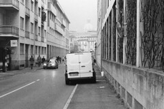 For people on wheelchair: Please use the sidewalk on the other side. (sirio174 (anche su Lomography)) Tags: auto como camion camper disabili veicoli divietodisosta marciapiedi incivilt