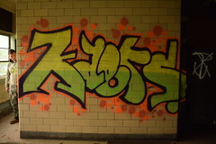 KAERS (TheGraffitiHunters) Tags: street red orange black building green art abandoned yellow train graffiti colorful paint bricks tracks spray blocks cinder kaers