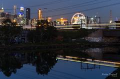 Melbourne Night Cityscape (Kristian Brudenell) Tags: city longexposure west night train reflections river graffiti cityscape melbourne brudenell maribyrnong