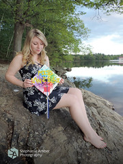 Graduation (stephanieamberphotography) Tags: sunset portrait lake water girl rock forest woods graduation blonde graduate grad