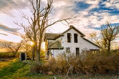 Last Kiss (KPortin) Tags: trees windows sunset abandoned abandonedhouse adamscounty sunstar deadtrees