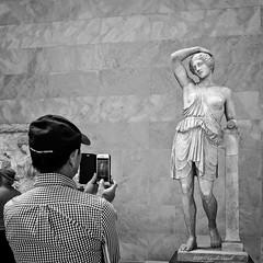 The Lady Likes To Pose (CVerwaal) Tags: nyc blackandwhite sculpture usa ny newyork metropolitanmuseum cellphones sonyrx100iii