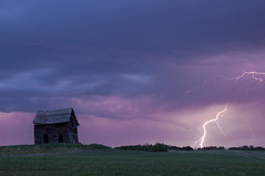 ZAP! (Len Langevin) Tags: sky canada storm abandoned weather clouds wow nikon alberta shack lightning prairie nikkor thunder wx d300 18300