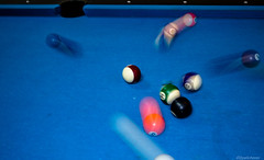 Billiards (@Dpalichorov) Tags: blue macro pool table hit cue flash traces trails balls indoor blow shock strike billiards niko makro poolcue nikond3200 d3200 flashtrails flashtraces