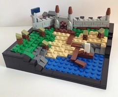 Seaside Castle (Sir Nagol) Tags: sea castle village lego side micro