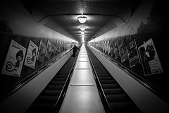 Rush Hour.. (Peter Levi) Tags: city blackandwhite bw man blancoynegro stairs sweden stockholm escalator streetphotography blackwhitephotos asquaresuperstarstemple